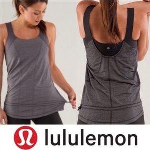 Lululemon run for your life bra tank black gray 8